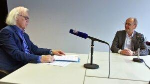 Prof. Dr. Klaus Vieweg (l.) und Prof. Dr. mult. Nikolaus Knoepffler während der Podcast-Aufzeichnung.